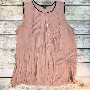 Theory Sleeveless Sheer Pink with Navy Trim Blouse
